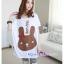 เสื้อคลุมท้องแขนสั้น ลายกระต่ายติดโบว์ : สีขาว รหัส SH016 thumbnail 1