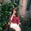 เสื้อแฟชั่นเกาหลี เว้าไหล่ ผูกใบว์ช่วงคอเสื้อ พิมพ์ลายจุดตามภาพ สีแดงเข้ม thumbnail 1