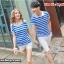เสื้อคู่รัก ชายเสื้อยืดคอปก + เสื้อยืดคอปก แต่งเว้าไหล่ ลายสีฟ้าขาว +พร้อมส่ง thumbnail 1
