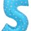 """ลูกโป่งฟอยล์รูปตัวเลข 5 สีฟ้าพิมพ์ลายดาว ไซส์จัมโบ้ 40 นิ้ว - Number 5 Shape Foil Balloon Size 40"""" Blue Color printing Star thumbnail 1"""