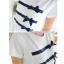 เสื้อคลุมท้องแขนสั้น ลายโบว์สีน้ำเงินตามขวาง : สีขาว รหัส SH020 thumbnail 3