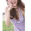 พร้อมส่ง ชุดว่ายน้ำวันพีซทรงชุดแซกสวย พื้นขาวลายสก็อตสีน้ำเงินแดง ด้านในเป็นบิกินี่ thumbnail 5