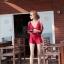 พร้อมส่ง ชุดว่ายน้ำบิกินี่ทูพีซสีแดงเลือดหมู พร้อมชุดเอี๊ยมกางเกงขาสั้น เซ็ตนี้สุดคุ้ม thumbnail 3