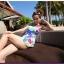พร้อมส่ง ชุดว่ายน้ำวันพีซ สายเสื้อกล้าม ลายดอกไม้หลากสี ตัดต่อสายคาดใต้อกแต่งโบว์ สวยมากๆ thumbnail 10