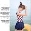 พร้อมส่ง ชุดว่ายน้ำ Tankini เซ็ต 3 ชิ้น สายเสื้อกล้ามสีส้มสลับกรมท่าขาว กระโปรงจับจีบสวยๆ thumbnail 7