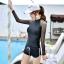 ชุดว่ายน้ำแขนยาว สีดำ แขนขาวผ้าตาข่ายซีทรู thumbnail 1