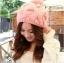 หมวกไหมพรมแฟชั่นเกาหลีพร้อมส่ง ทรงดีไซต์เก๋ ทรงโดมลายกากบาท มีจุก สีชมพู thumbnail 1