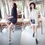 เดรส/เสื้อตัวยาวแฟชั่นเกาหลี ลายทาง ตัวเสื้อทรงเชิตเก๋ ๆ สีดำ thumbnail 9