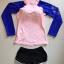 ชุดว่ายน้ำแขนยาวสีชมพู-น้ำเงิน กางเกงขาสั้นสีดำ thumbnail 6