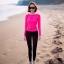 ชุดว่ายน้ำขายาว+แขนยาว เสื้อสีชมพูบานเย็น+บิกินี่+กก.ขายาว เซ็ต 3 ชิ้น thumbnail 1