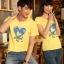 เสื้อยืดคู่รัก แฟชั่นคู่รั กชาย + หญิง เสื้อยืดแขนสั้น เสื้อสีเหลือง สกรีนลายหัวใจสีฟ้า +พร้อมส่ง+ thumbnail 7