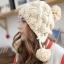 หมวกไหมพรมแฟชั่นเกาหลีพร้อมส่ง ทรงดีไซต์เก๋ ถักแต่งรูปโดมลายกากบาท มีจุกด้านบน และด้านข้าง สีครีม thumbnail 3