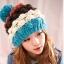 หมวกไหมพรมแฟชั่นเกาหลีพร้อมส่ง ทรงดีไซต์เก๋ แต่งจุกสีฟ้า หมวกลายขนมชั้นสีฟ้าขาวน้ำตาลแดง thumbnail 1