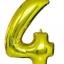 """ลูกโป่งฟอยล์รูปตัวเลข 4 สีทอง ไซส์เล็ก 14 นิ้ว - Number 4 Shape Foil Balloon Size 14""""Gold Color thumbnail 1"""