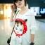 เสื้อคลุมท้องแขนยาว ลายแมว White Cat : สีขาว รหัส SH179 thumbnail 2