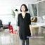 เสื้อเชิ้ตคลุมท้องแขนยาว มีฮู้ด : สีดำ รหัส SH054 thumbnail 2