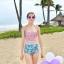 พร้อมส่ง ชุดว่ายน้ำเอวสูง สีชมพู ลายดอกไม้สวยๆ thumbnail 7