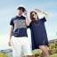 เดรสคู่รักเกาหลี แฟชั่นคู่รัก วันหยุดพักร้อน ชายเสื้อยืดคอปก หญิงเดรสตัวใหญ่ สีกรม thumbnail 1