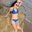 พร้อมส่ง ชุดว่ายน้ำบิกินี่ทูพีซ สีน้ำเงินกรมท่า แต่งลายเก๋สีส้มสดใส thumbnail 3