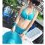 พร้อมส่ง ชุดว่ายน้ำทูพีชสีฟ้า บราแต่งโบว์ที่อก สายคล้องคอ กางเกงกระโปรงแต่งปลายระบายน่ารักๆ thumbnail 2