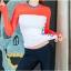 ชุดว่ายน้ำขายาว เสื้อแขนยาวสีส้มขาวสวยๆ เซ็ต 3 ชิ้น thumbnail 4