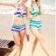 พร้อมส่ง ชุดว่ายน้ำบิกินี่ทูพีซ สไตล์สปอร์ตเกิร์ล กางเกงขาสั้น ลายขวางสลับสีสวย thumbnail 4