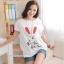 เสื้อคลุมท้อง ลายกระต่ายหน้ายิ้มหูแดง : สีขาว รหัส SH153 thumbnail 6