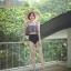 ชุดว่ายน้ำเอวสูง เสื้อระบายเอวลอย สีดำ thumbnail 7