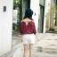 เสื้อแฟชั่นเกาหลี เว้าไหล่ ผูกใบว์ช่วงคอเสื้อ พิมพ์ลายจุดตามภาพ สีแดงเข้ม thumbnail 5