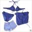 พร้อมส่ง ชุดว่ายน้ำบิกินี่ เซ็ต 4 ชิ้น สีน้ำเงินแต้มจุดขาว ขายพร้อม เสื้อคลุม+กางเกงขาสั้นลายขวางสีขาวน้ำเงินสวยๆ thumbnail 9