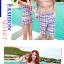 PRE ชุดว่ายน้ำคู่รัก ชุดว่ายน้ำ Tankini สายสปาเก็ตตี้ ลายสก๊อตน่ารักสดใส กางเกงกระโปรง thumbnail 4