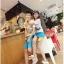 กางเกงคู่รัก ชาย + หญิงกางเกงขาสั้น แบบรูดซิบ ลายสีเรียบ สีฟ้า +พร้อมส่ง+ thumbnail 6