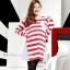 เสื้อคลุมท้องแขนยาว ลายขวางสุดอินเทรน : สีแดง-ขาว รหัส SH138 thumbnail 1