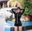 ชุดว่ายน้ำแขนยาว เซ็ต 3 ชิ้น สีขาว-ดำ (บรา+กางเกงขาสั้น+เสื้อแขนยาว) thumbnail 5