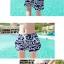 PRE ชุดว่ายน้ำคู่รัก ชุดว่ายน้ำบิกินี่ สายคล้องคอ ลายโซ่ขาว พื้นกรมท่าสวยๆ thumbnail 3