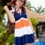 พร้อมส่ง ชุดว่ายน้ำทรงแซก เซ็ต 2 ชิ้น สายคล้องคอ สลับสีส้ม ขาว น้ำเงินสวยๆ thumbnail 1