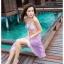 PRE ชุดว่ายน้ำบิกินี่เซ็ต 3 ชิ้น ลายสีชมพูอมม่วง สายคล้องคอ แต่งขอบบราและกางเกงโดยการเย็บสม็อคย่นๆ พร้อมผ้าคลุมลายสวย thumbnail 6