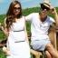 +พร้อมส่ง+ ชุดคู่รักพรีเวดดิ้ง Pre Wedding ชายเสื้อยืดสีขาว มีกระเป๋าเสื้อ หญิงเดรสแขนกุดสีขาว thumbnail 1