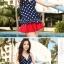 พร้อมส่ง ชุดว่ายน้ำ Tankini เซ็ต 3 ชิ้น เสื้อสีน้ำเงินแต้มจุดขาว กระโปรงระบายสีแดงสวย (เสื้อTankini +บิกินี่+กระโปรง) thumbnail 4
