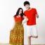 เดรสคู่รัก เสื้อคู่รัก ชายเสื้อแขนสั้น+ หญิงเดรสยาวแขนกุดสไตส์ฮาวาย สีส้ม +พร้อมส่ง+ thumbnail 1