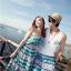 PRE ชุดเดินหาดคู่รัก เดรส แต่งอกระบาย สายคล้องคอหรือผูกโบว์เป็นเกาะอก จั๊มเอว +กางเกงขาสั้นชาย หลายโบฮีเมียนสีสวย thumbnail 2
