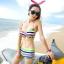 พร้อมส่ง ชุดว่ายน้ำทูพีซ บรา+กางเกงขาสั้น สีรุ้งสดใสสวยๆ thumbnail 1