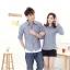 เสื้อเชิ๊ตคู่รักชุดคู่รักพร้อมส่ง ชาย +หญิง เสื้อเชิ๊ตคอปกผ้ายีนส์แขนยาวสีเทา +พร้อมส่ง+ thumbnail 2