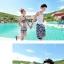 PRE ชุดว่ายน้ำคู่รัก ชุดว่ายน้ำบิกินี่ สายคล้องคอ ลายโซ่ขาว พื้นกรมท่าสวยๆ thumbnail 6