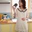 JK017 เสื้อคลุมท้องแฟชั่นเกาหลี สีขาวล้วน ผ้าลูกไม้นิ่มทั้งชุด คอบัวแขน 4 ส่วน แต่ระบายชายแขน thumbnail 3