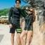 ชุดว่ายน้ำแขนยาวสีดำแต่งเส้นขอบ+เส้นด้ายสีเขียวสะท้อนแสง (เสื้อซิปหน้า) thumbnail 6