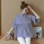 K114222 เสื้อคลุมท้องแฟชั่นเกาหลี โทนสีฟ้าสลับขาว thumbnail 3