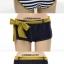 พร้อมส่ง ชุดว่ายน้ำบิกินี่ ชุดว่ายน้ำเซ็ต 3 ชิ้น สีกรมท่าสลับเส้นขาว แต่งขอบสีทองสวยๆ พร้อมกางเกงคลุม thumbnail 16