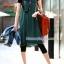 กางเกงเลคกิ้งคลุมท้อง ผ้าคอตตอน : สีดำ รหัส PN048 thumbnail 6