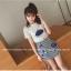 ชุดแฟชั่นเกาหลี เสื้อ + กระโปรง เย็บแต่งลายด้านหน้าตามรูปน่ารัก ๆ thumbnail 2